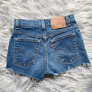 Levi's Denim High-Rise Cut-Off Raw Hem Jean Shorts